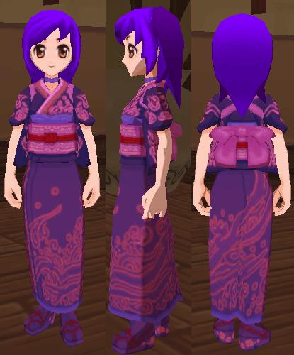 紫色の和服