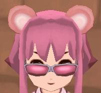 クマ耳(ピンク) ピンクシェイプメガネ